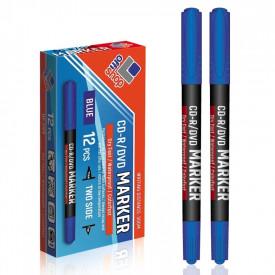 Marker CD/DVD 2 capete, albastru, 0,5-0,1 mm, 12 buc/set - OFFISHOP