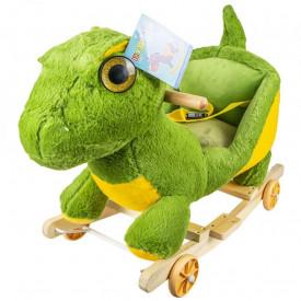 Balansoar pentru bebelusi, Dinozaur, lemn + plus, cu rotile