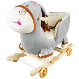 Balansoar pentru bebelusi, Magarus, lemn + plus, cu rotile, 52 cm