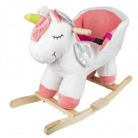 Balansoar pentru bebelusi, Unicorn, lemn + plus, roz+alb, 52 cm