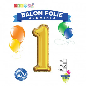 Balon, folie aluminiu, auriu, cifra 1, 81 cm