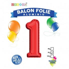 Balon, folie aluminiu, rosu, cifra 1, 81 cm