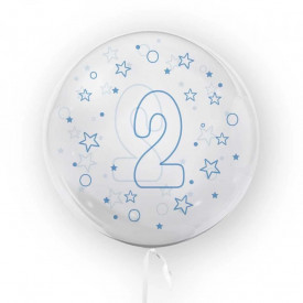 Balon transparent, 45 cm - cifra 2, baieti - TUBAN