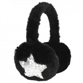 Casca protectie urechi, Neagra, cu blanita si paiete - STARPAK