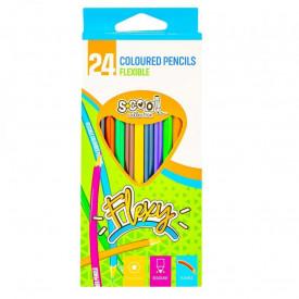 Creioane color, flexibile, 24 culori/set - S-COOL