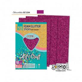 Hartie buretata, adeziva, glitter, roz, 10 buc/set, 20x30 cm - S-COOL