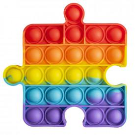 Jucarie senzoriala, antistres, curcubeu, 12,5x12,5x1,5 cm - Piesa puzzle