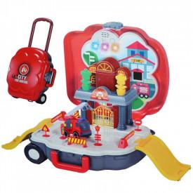 Parcare cu masina de pompieri, muzica/lumina, 1 set/troller