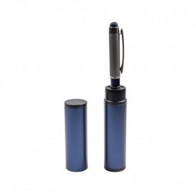 Pix metal in tub metalic albastru, cu mecanism, mina albastra - OFFISHOP