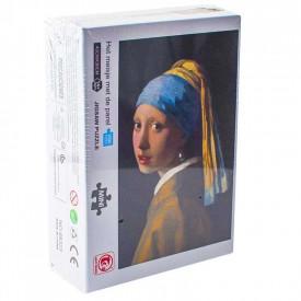 Puzzle carton mini, Fata cu cercel de perla, 1000 piese
