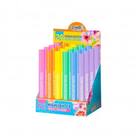 Text marker, pastel, rotund, 24 buc/cutie - S-COOL