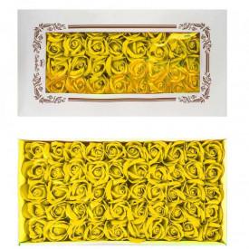 Trandafiri decorativi, din sapun, 50 buc/set - GALBEN