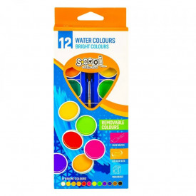 Acuarele, 12 culori, 30 mm , pensula, premium - S-COOL