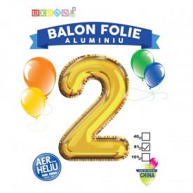 Balon, folie aluminiu, auriu, cifra 2, 81 cm