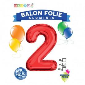 Balon, folie aluminiu, rosu, cifra 2, 81 cm