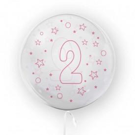 Balon transparent, 45 cm - cifra 2, fete - TUBAN
