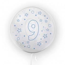 Balon transparent, 45 cm - cifra 9, baieti - TUBAN