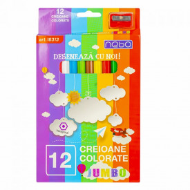 Creioane color Hexagonale Jumbo Set 12 - NEBO