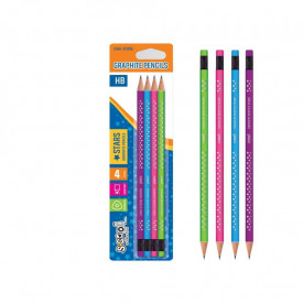 Creion grafit HB, Shining Star, 4 cul/blister- S-COOL