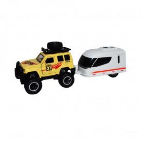 Jeep cu rulota, cu frictiune
