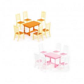 Masa+scaune pentru papusi, 7 piese/set, 21x12x6 cm, Wader