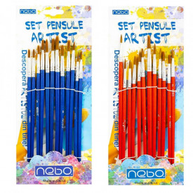 Pensule varf rotund 12 buc|set - NEBO