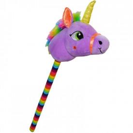 Unicorn de calarit, cu bat, cu sunet, mov/albastru/roz/galben, 80 cm