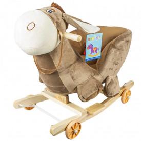 Balansoar pentru bebelusi, Magarus, lemn + plus, cu rotile, 60 cm