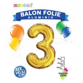 Balon, folie aluminiu, auriu, cifra 3, 81 cm