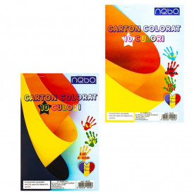 Carton color A4, 10 culori, 140 g, 10 coli/set - NEBO