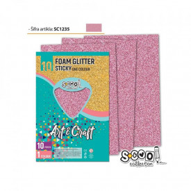 Hartie buretata, adeziva, glitter, roz deschis, 10 buc/set, 20x30 cm - S-COOL