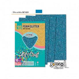 Hartie buretata, glitter, albastru deschis, 10 buc/set, 20x30 cm - S-COOL