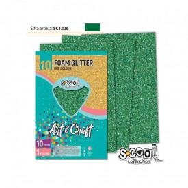 Hartie buretata, glitter, verde inchis, 10 buc/set, 20x30 cm - S-COOL