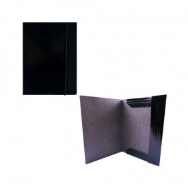 Mapa F4 cu elastic, carton, 600g/mp, neagra - OFFISHOP