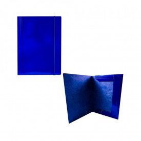 Mapa F4 cu elastic, din carton, 600 g/mp, albastra - OFFISHOP