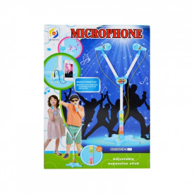 Microfon dublu cu baterii si suport, pentru copii