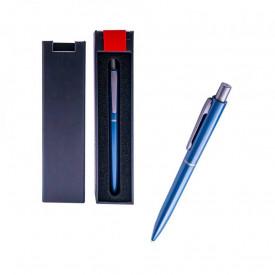 Pix metal bleumarin in cutie cadou, cu mecanism, mina albastra - OFFISHOP