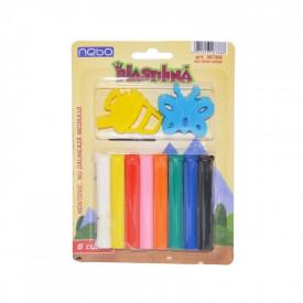 Plastilina 8 culori + forme, pe blister - NEBO