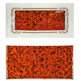 Trandafiri decorativi, din sapun, 50 buc/set - PORTOCALIU