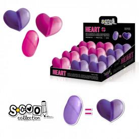 Ascutitoare cu radiera, Heart, 12 buc/display - S-COOL