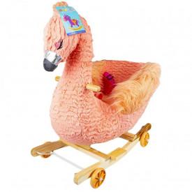 Balansoar pentru bebelusi, Flamingo, lemn + plus, cu rotile, roz, 66 cm