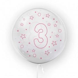 Balon transparent, 45 cm - cifra 3, fete - TUBAN