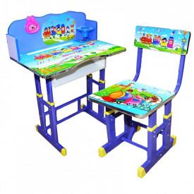 Birou + scaunel, reglabile/desene/albastru/MDF+metal