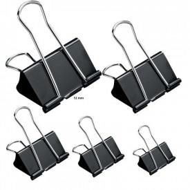 Clipsuri metalice, negre, 51mm, 12buc/set - OFFISHOP