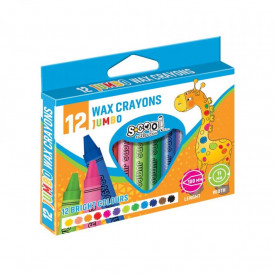 Creioane cerate, JUMBO, 12 culori/set - S-COOL