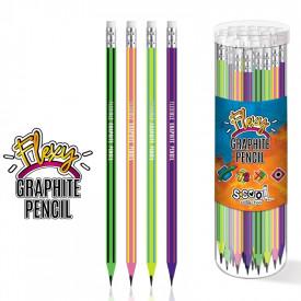 Creion grafit flexibil HB, cu radiera, hexagonal, 72 buc/cutie - S-COOL