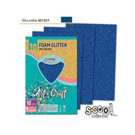 Hartie buretata, glitter, albastra, 10 buc/set, 20x30 cm - S-COOL
