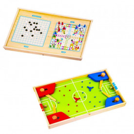 Joc 3in1 din lemn, Fotbal/Ludo/Dame