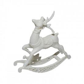 Ornament Craciun - ren alb cu sanie