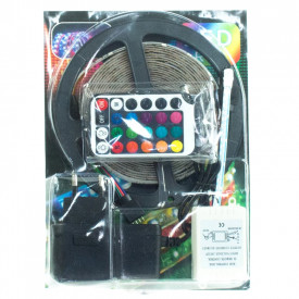 Set banda LED dublu adeziva 4.10 m, 215 leduri,albastru+telecomanda+adaptor alimentare prize Dualex